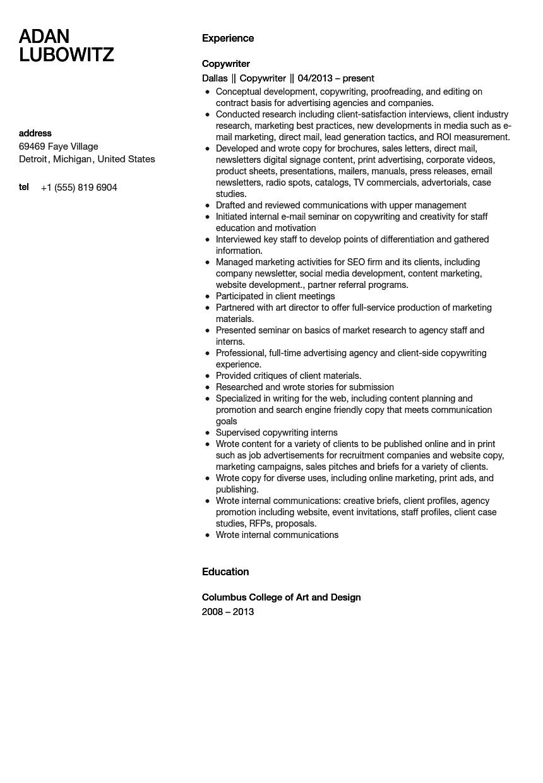 Copywriter Resume Sample  Velvet Jobs