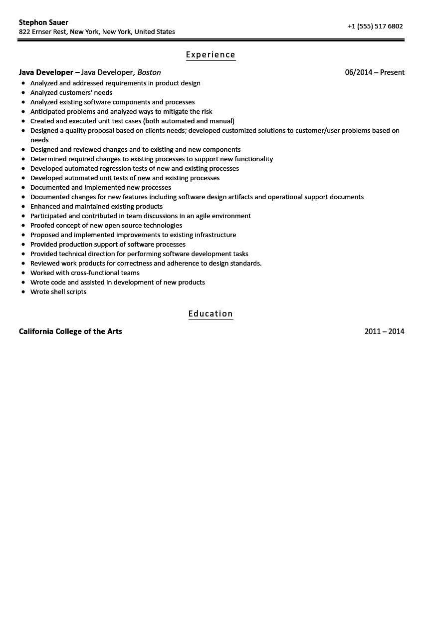 Java Developer Resume Sample Velvet Jobs
