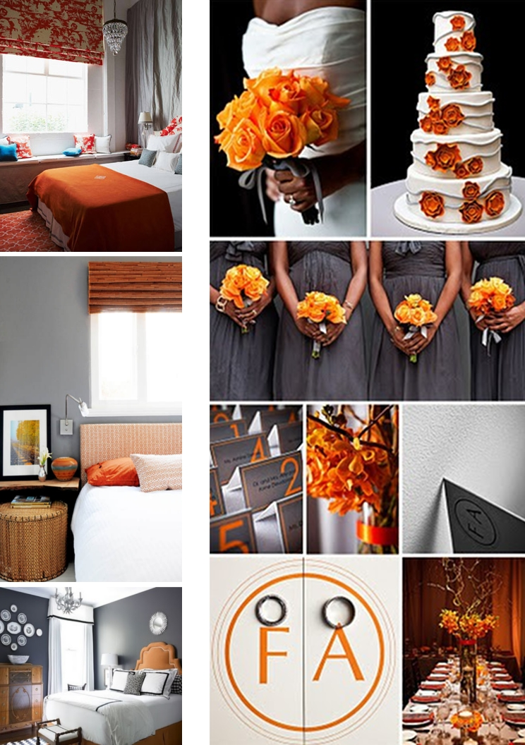 Grey and orange wedding theme  Velvet Palette