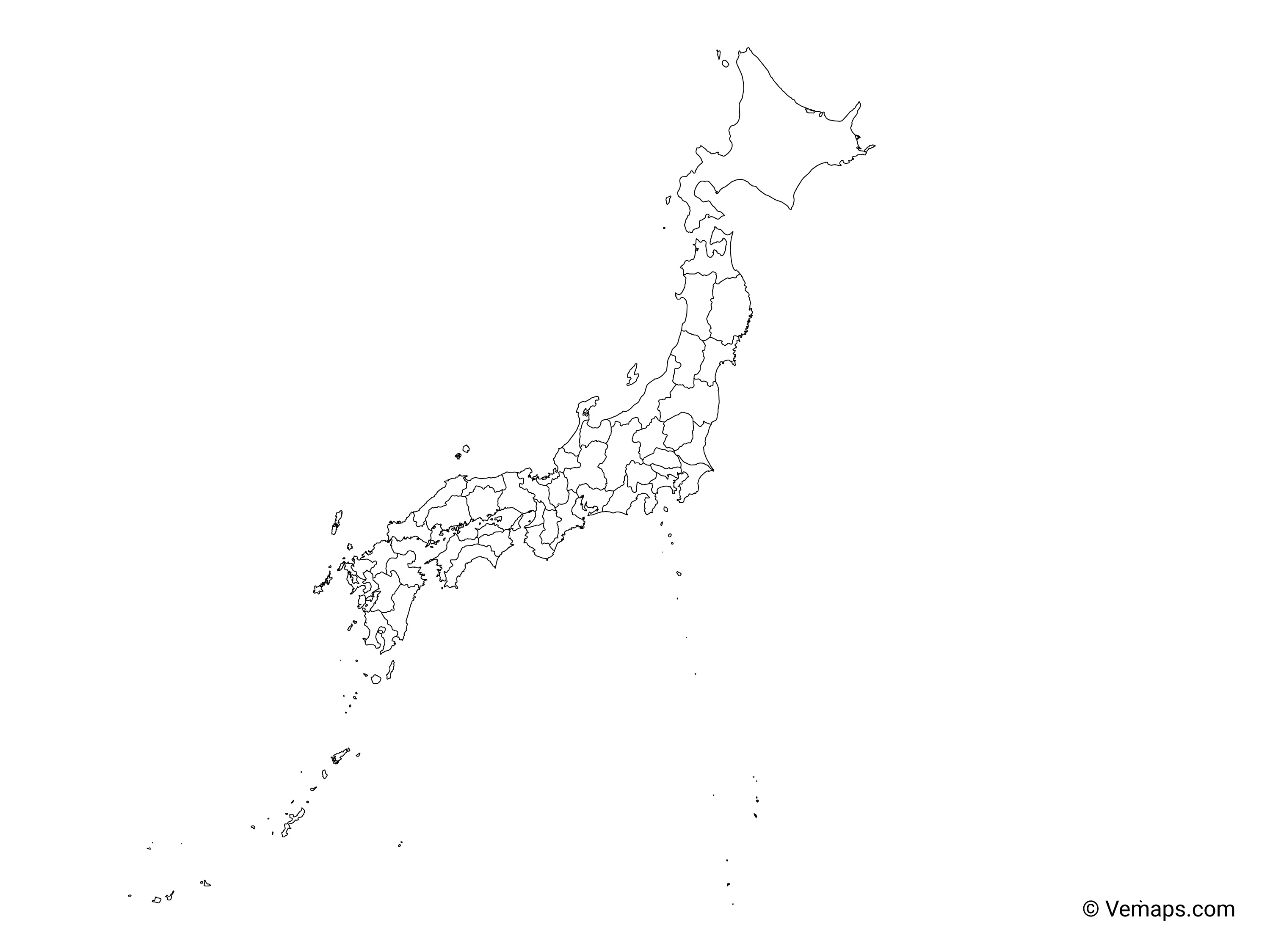 Outline Map Of Japan With Prefectures Free Vector Maps