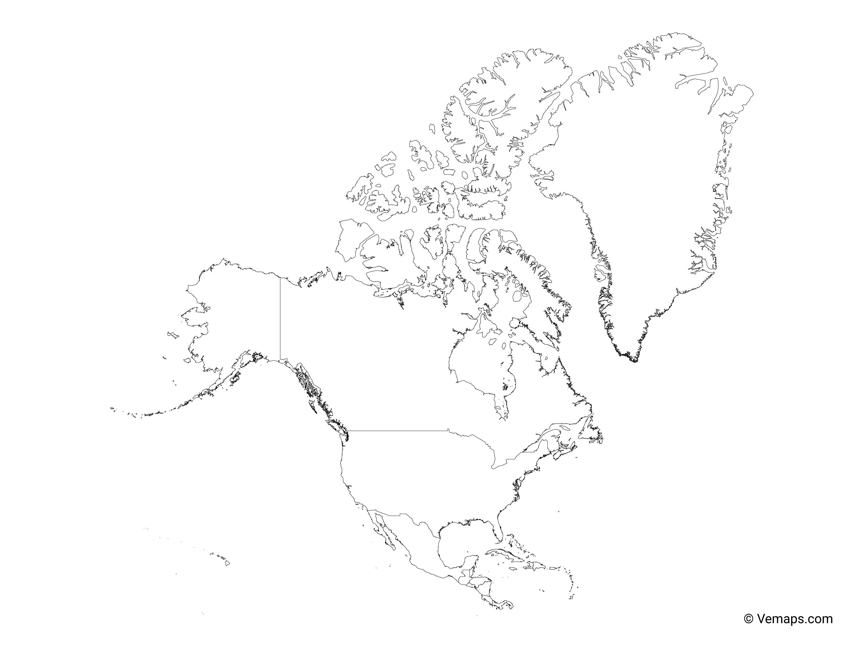 Outline Map Of North America With Countries Free Vector Maps