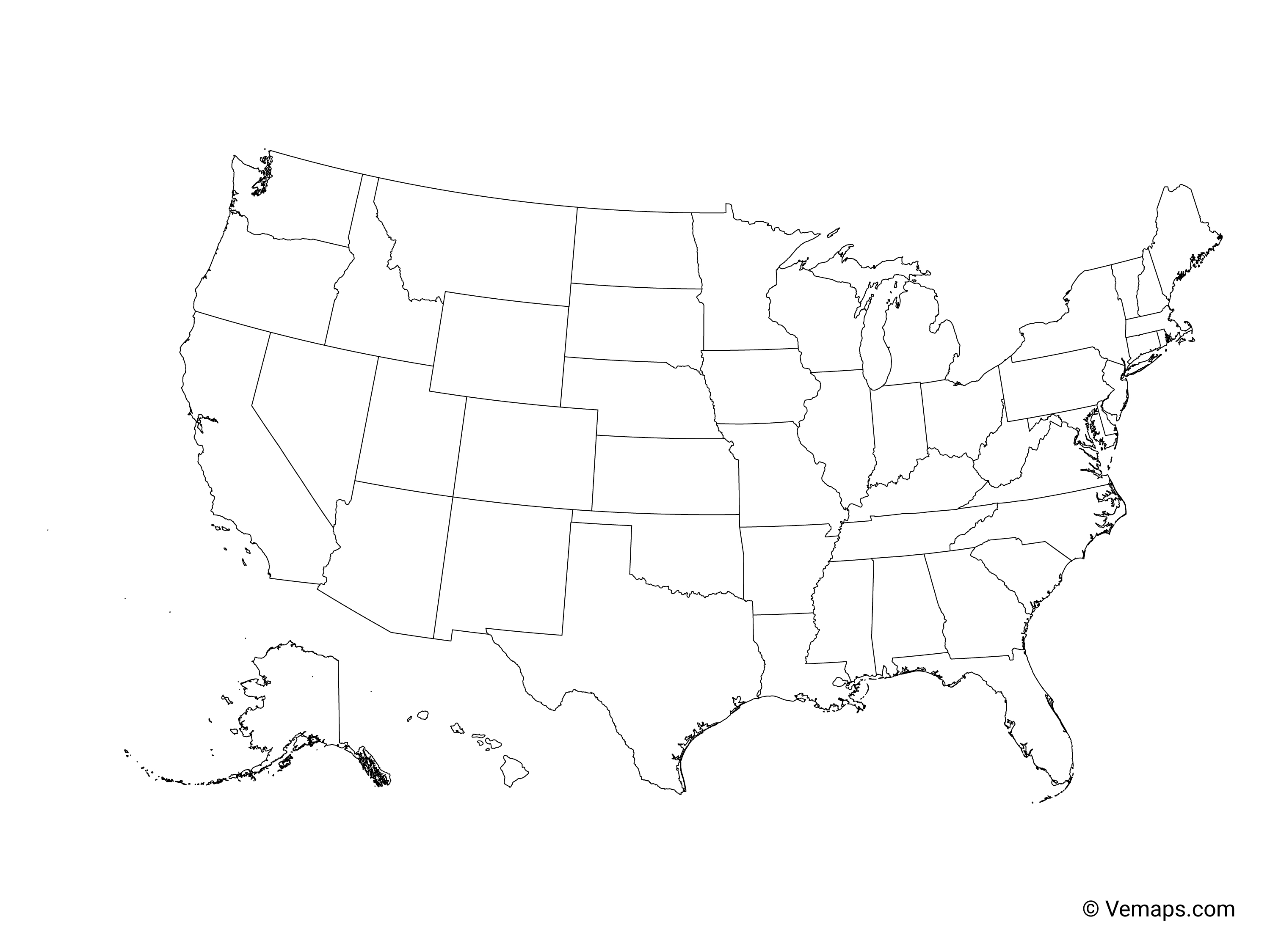 Outline Map Of The United States With States Free Vector Maps