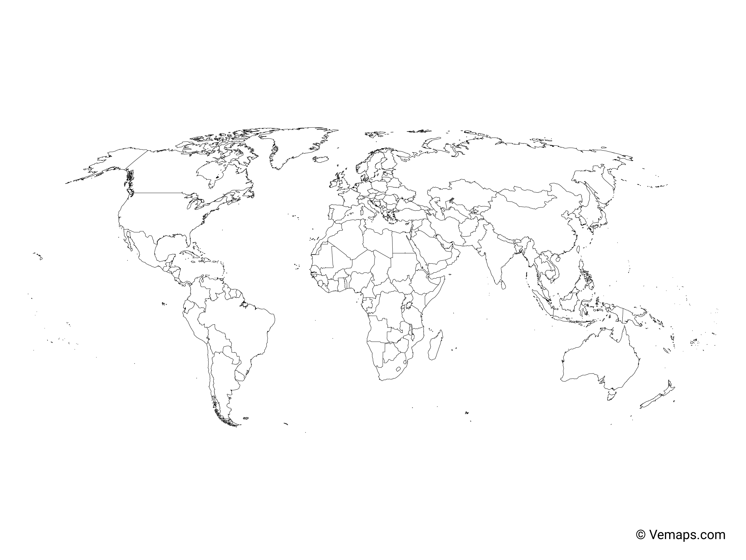 Outline Map Of The World With Countries Robinson Projection Free Vector Maps
