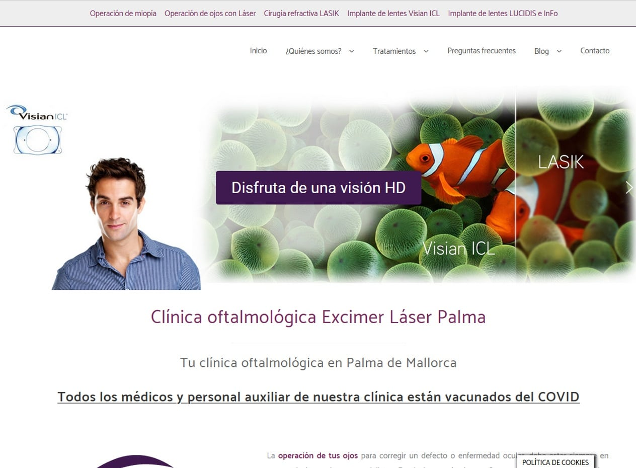 Desarrollo web para clínicas de oftalmología en Mallorca - Excimer Láser Palma