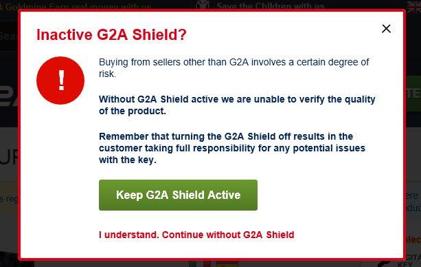 Varsel fra G2A om at G2A Shield er nødvendig for å være garantert en refusjon dersom nøkkelen ikke fungerer.