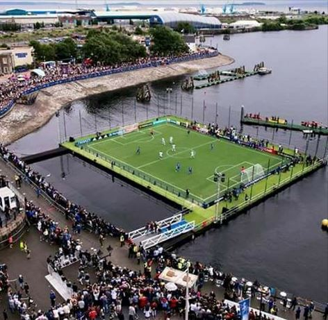 Image result for angola football pitch on water