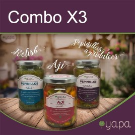 Combo de 3 productos Yapa (pepinillos, relish y aji), conservas en vinagre sin gluten