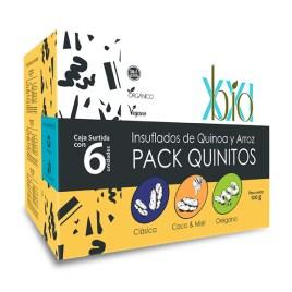 Pack Quinitos BIO XXI, insuflados de arroz y quinua sabores surtidos (coco-miel, clasico, orégano)