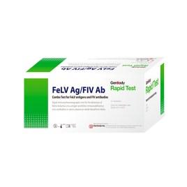 Prueba rápida de leucemia/inmunodeficiencia felina Genbody FeLV Ag/FIV Ab, caja de 10 unidades