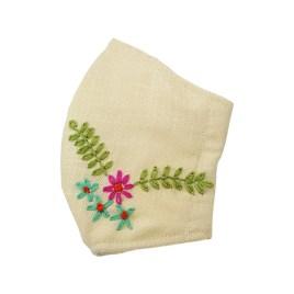 Barbijo fashion bordado a mano con diseño Hojas de Helecho y Flores