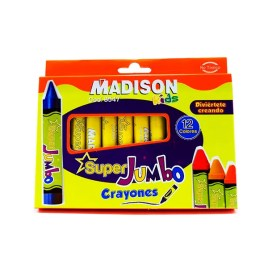 Crayones 12 colores Madison Super Jumbo