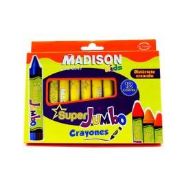 Crayones 12 colores Madison Super Jumbo