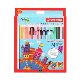 Estuche de 24 lápices con tajador Stabilo Swans Premium