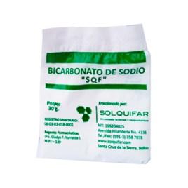 Bicarbonato de sodio Solquifar, sobre individual de 30gr