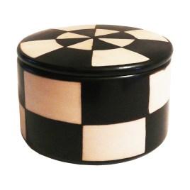 Cajita multiuso de cerámica con diseños geométricos triangulares