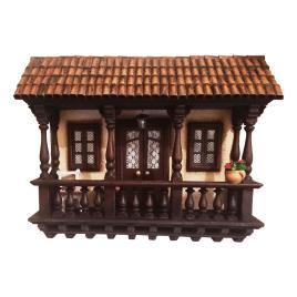 Retablo de balcón colonial hecho a mano en madera