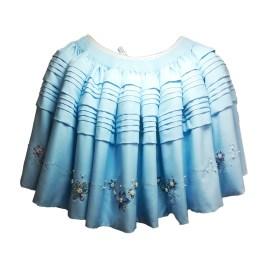 Pollera para cholita en tela milano color celeste, diseño exclusivo y hecho a mano