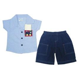 Conjunto de bebé con camisa celeste a cuadros y short jeans