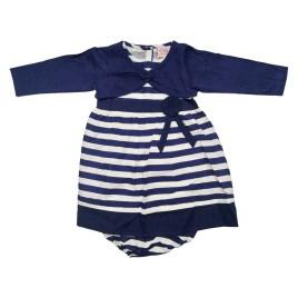 Vestido azul a rayas para bebé
