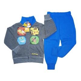 Conjunto para niños, chaqueta gris y buzo celeste con figuras de Pokemon (4-10 años)