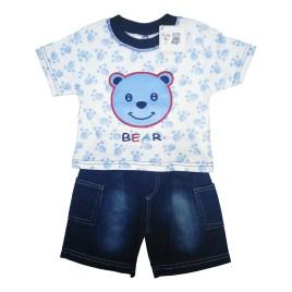 Conjunto de dos piezas para bebé, polera con figura de oso y corto azul (6-24 meses)