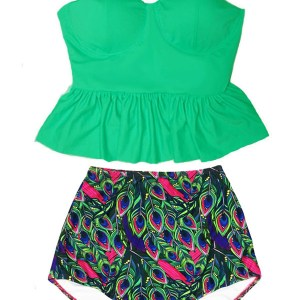 43fbcc8c9b6d6 Green Long Peplum Tankini Tankinis Underwire Top and Paisley Peacock  Feather High Waisted Waist Rise Slimming Pin up Bottom Swimsuit Swimwear  Swimsuits Bath ...