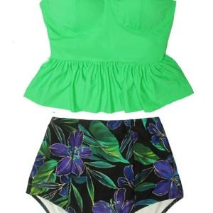 b8004f52a2c03 Green Greenery Peplum Long Tankini Top and Luxury Flora Floral Highwaist Highwaisted  High waisted waist Pin up Slimming Bikini set Swimsuit Swimwear Bathing ...