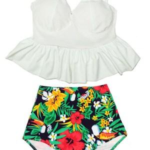 aceadf7874e0c White Long Tankini X Cross Strap Straps Peplum Top and Flora Floral High  Waist Waisted Highwaisted Bottom Bikini Swimsuit Swim suit suits S M L XL