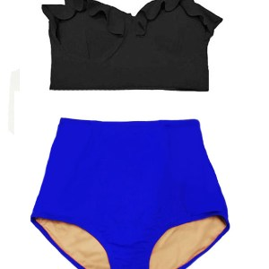 87d93e69b5e46 Black Midkini Top and Blue Highwaisted Highwaist High Waisted Waist  Handmade Swimsuit Swimwear Bikini Bath suit Beach Summer Swim Swimming  clothing Wear ...