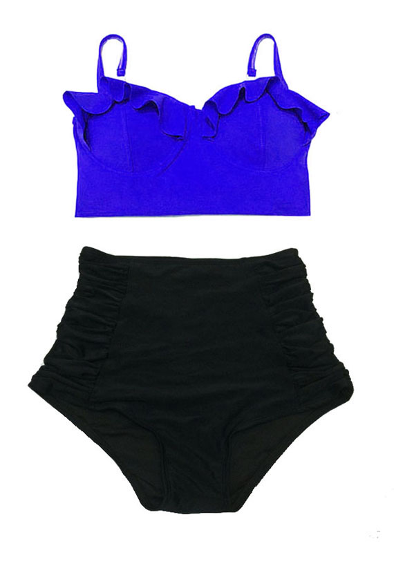 Yellow /& Black High Waisted 2pc Halter Neck Style Bikini Suit Swimsuit Size L,XL