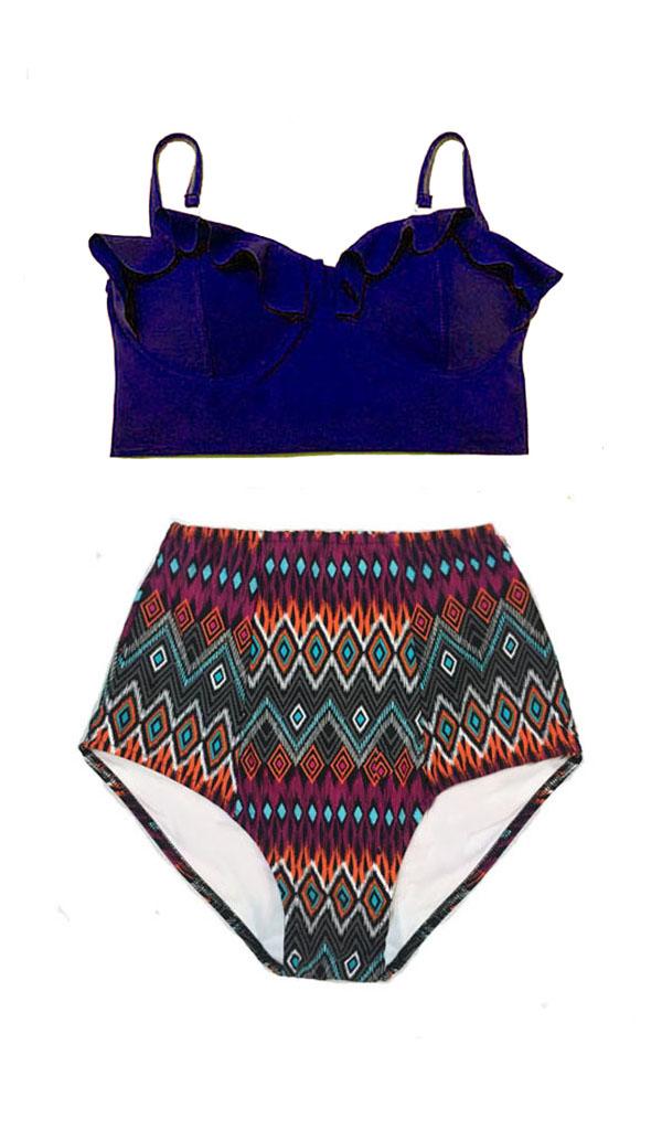 31929d25d4d27 Handmade Woman Women Womens Two piece Bikini set Swimsuit Swimwear Bathing  suit Beachwear Beach clothing : Navy Blue Top and Tribal High waist waisted  ...