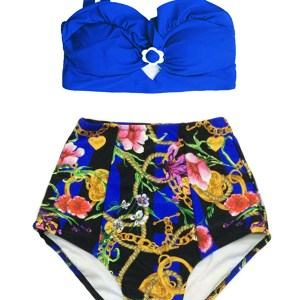 827ede0f08961 Blue Top and Flower Flora Chain High waisted waist rise Shorts Bottom Retro  Vintage Handmade Two piece Bikini set sets Swimsuit Swimwear Swim Bathing  suit ...
