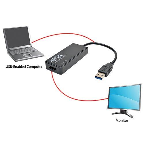 Tripp Lite U344-001-HDMI-R Adaptador de Tarjeta Gráfica Externa de Video USB 3.0 SuperSpeed a Monitor HDMI Doble, SDRAM de 512 MB - 2048 x 1152, 1080p - VendeTodito