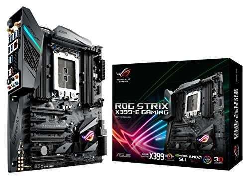 Asus ROG Strix X399-E Gaming Motherboard, E-ATX, AMD Ryzen Threadripper TR4, Chipset X399, DDR4, M.2, U.2, HEDT, 802.11AC WiFi, USB 3.1 Gen2, Aura Sync, RGB Lighting - VendeTodito