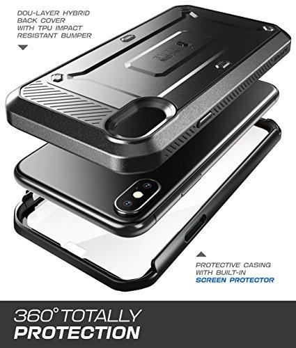 SUPCASE iPhone X Caso, Full-Body Rugged Holster Case con Integrado Protector de Visualización para el iPhone de Apple Paquete de (2017Release), Unicorn Beetle Pro Series–Retail X (Negro) - VendeTodito