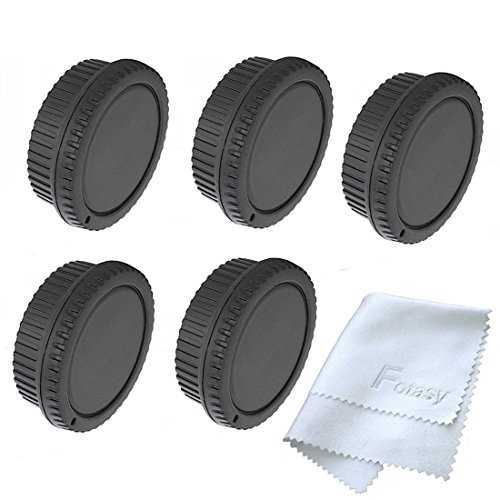 Fotasy RBC5 5x Rear Lens Cover and Camera Body Cap Set with Cleaning Cloth for Canon EOS DSLR (Black) - VendeTodito