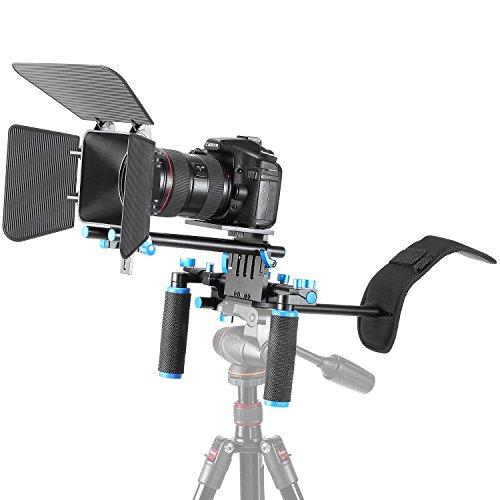 Neewer - Kit de Sistema de Video DSLR para Hacer Películas con Cámaras DSLR como Canon, Nikon, Sony, Pentax, Fujifilm, Panasonic,con Soporte Hombro, Barra DE 15 mm y Caja Mate - VendeTodito