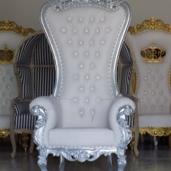 Throne Chairs For Rent High Chair Tray Hardware Loanables Silver And White Rental Located In Tampa St Petersburg Sarasota