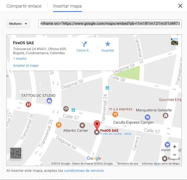 Incluir mapa Google en página web