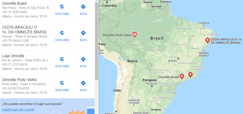 Lojas Omnilife no Brasil