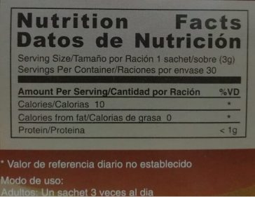 Tabla nutricional gano cafe classic -  nutrition facts