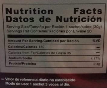 Tabla nutricional Gano Schokolade - Nutrition Facts