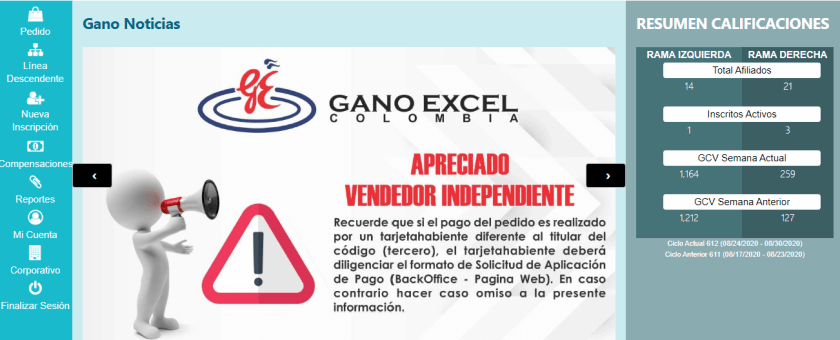 Página principal Back Office Gano Excel Colombia