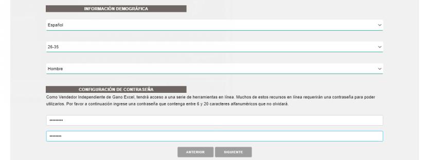 Datos demográficos nueva afiliación Gano Excel Colombia