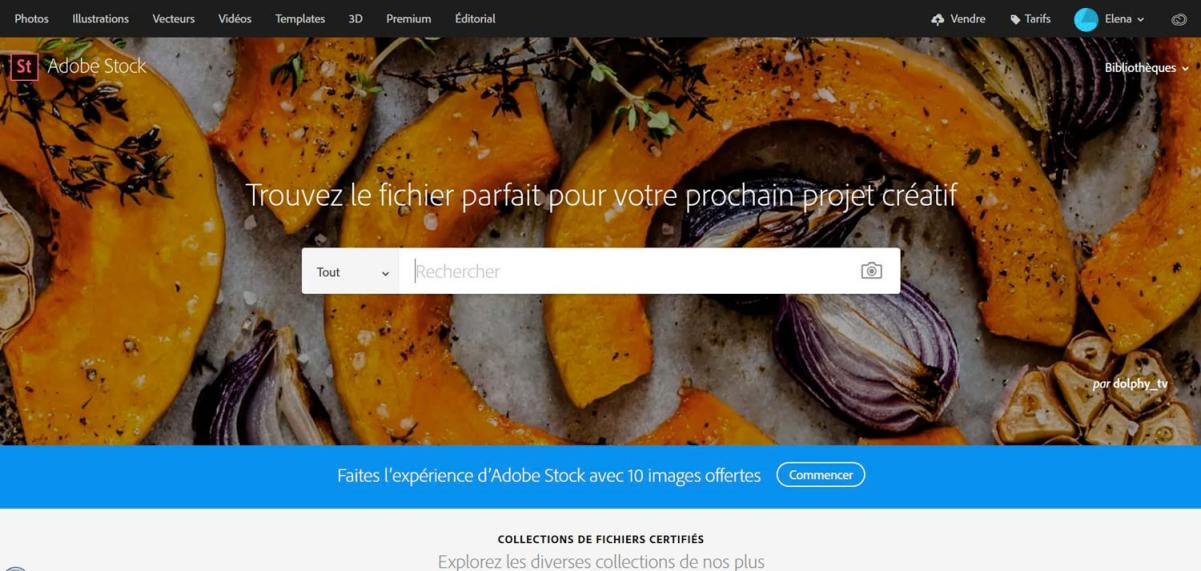 Page d'accueil d'Adobe Stock