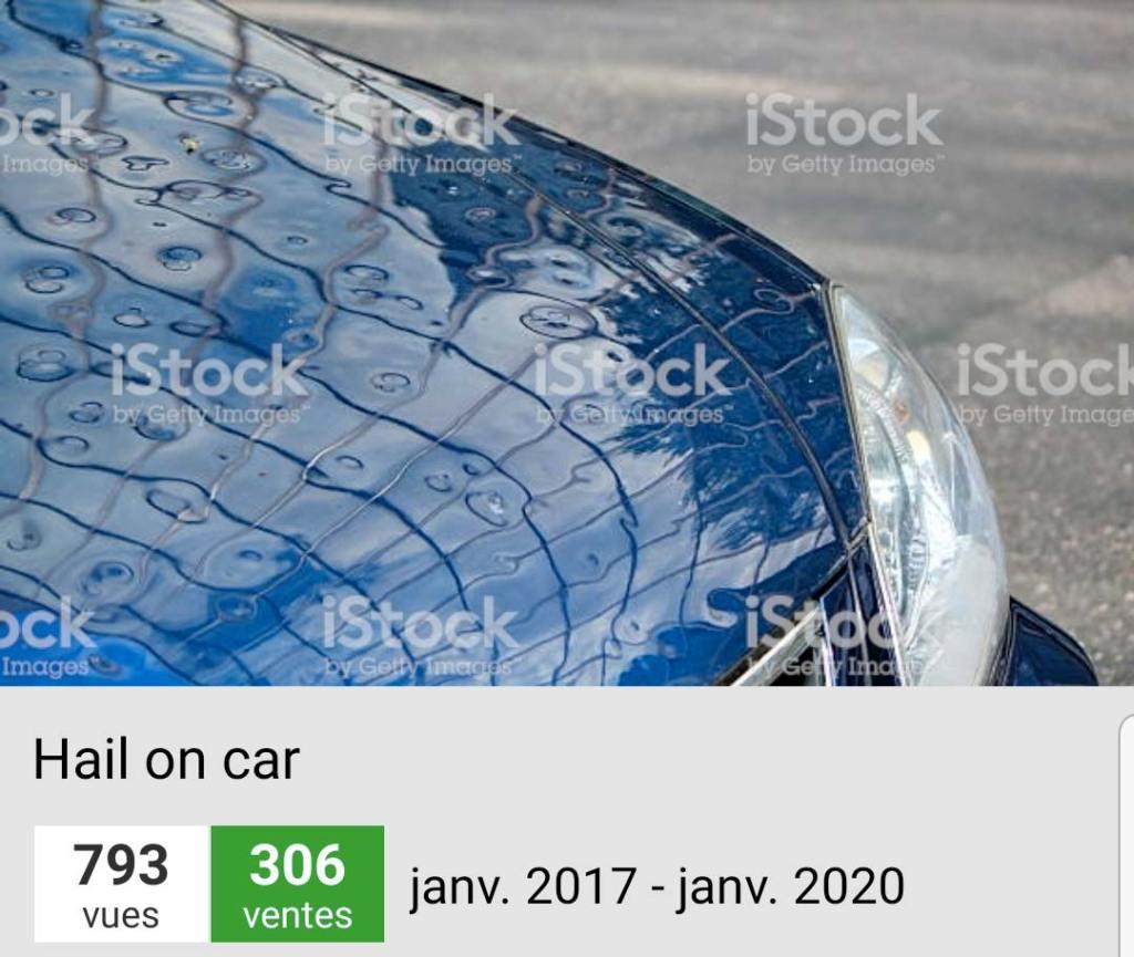 Ventes de Grêle sur un capot de voiture sur iStockphotos | Vendre ses photos en ligne