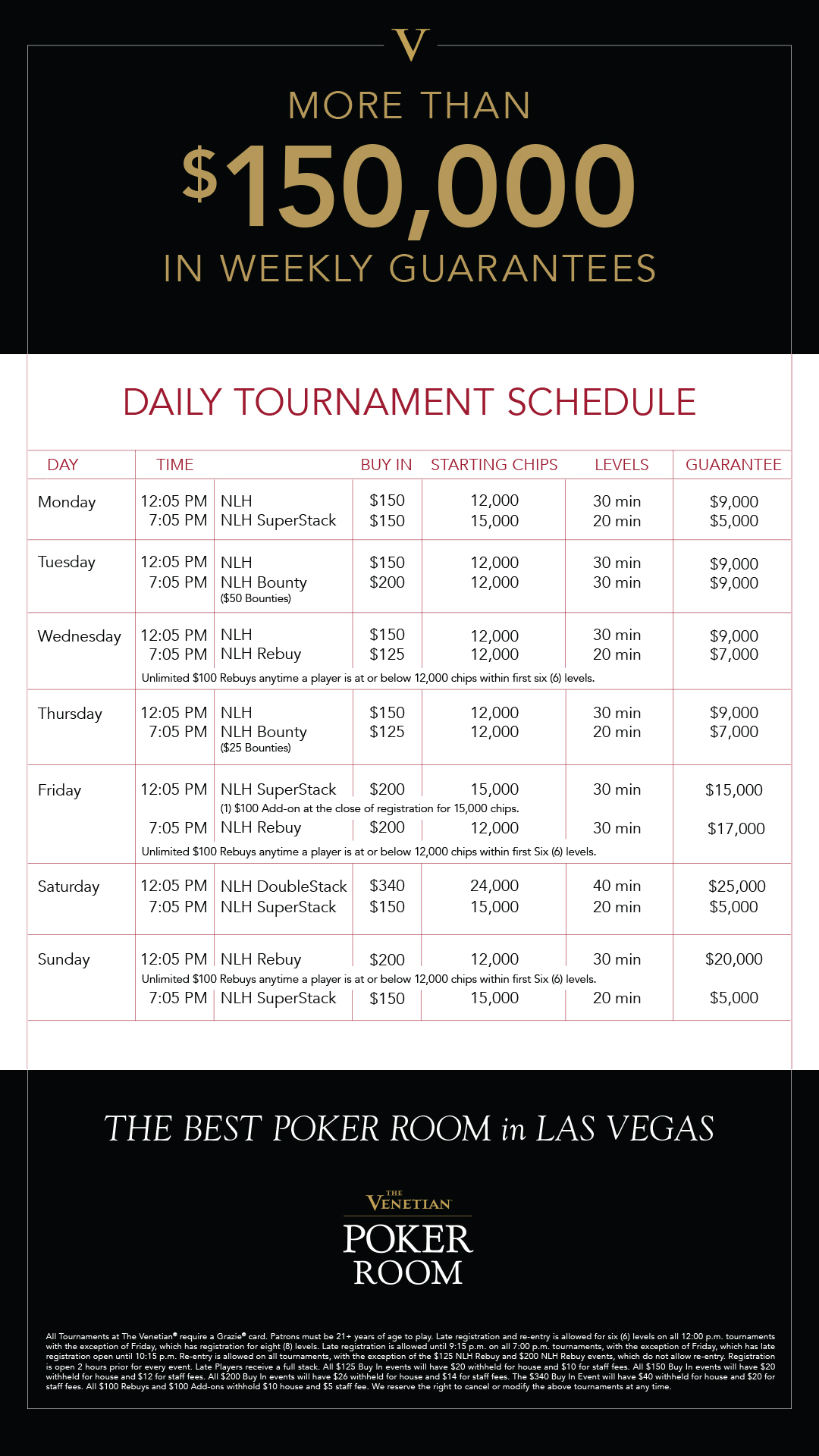 Encore poker room tournament schedule