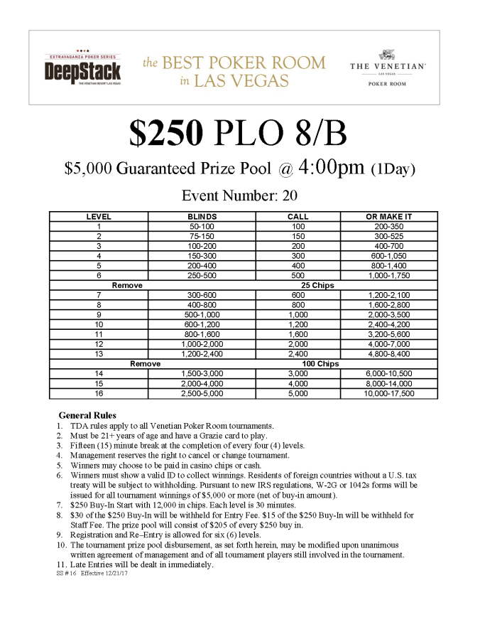 DSE IV $250 PLO 8B