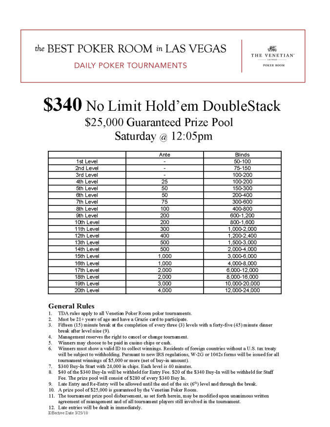 Sat12pm $340 NL $25K Guarantee Online