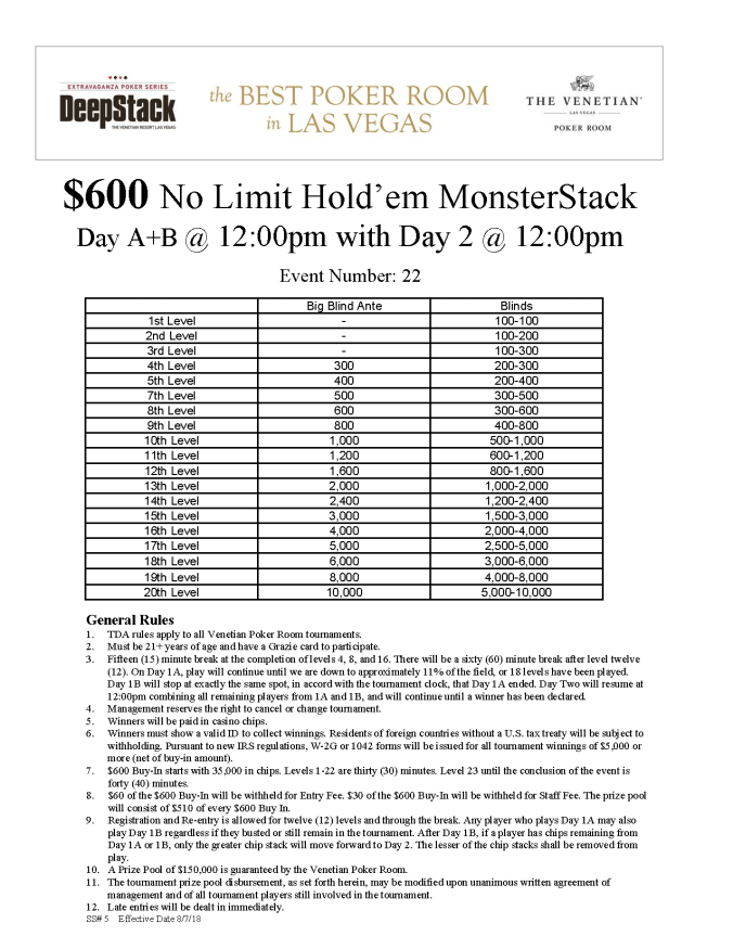 DSE IV $600 NL MonsterStack $150K GTD